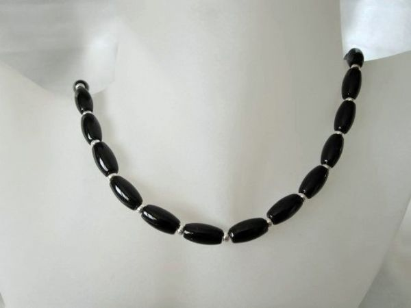 Black Onyx Rice Beads & Sterling Silver Necklace | Silver Sensations